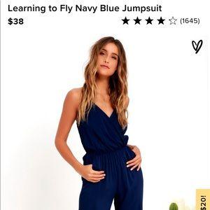 Lulu's Navy Blue Jumpsuit